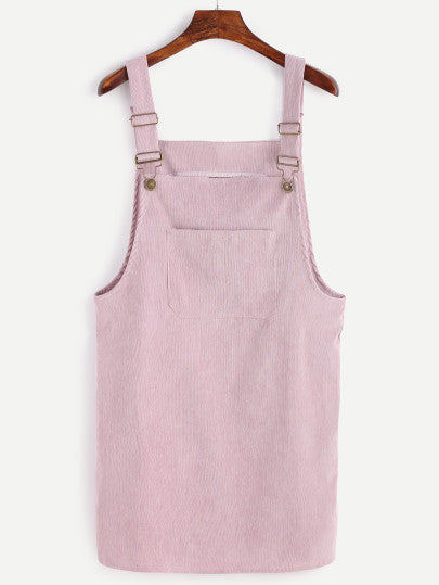 Topaz Pink Corduroy Overall Dress - Women Clothing Sale | Pixiecove