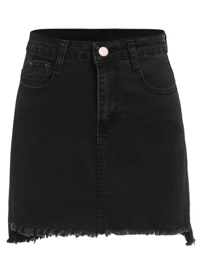Lee Black Raw Hem Denim Skirt Now On Sale | Pixiecove