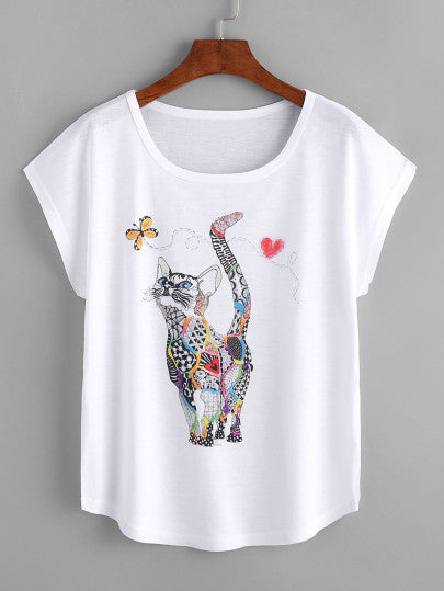 Cat Printed Loose Tee