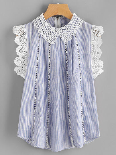 Dorothee Lace Trim Pinstripe Blouse