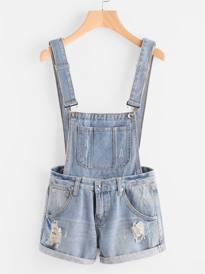 Distress Cuffed Denim Dungaree Shorts For Sale | Pixiecove