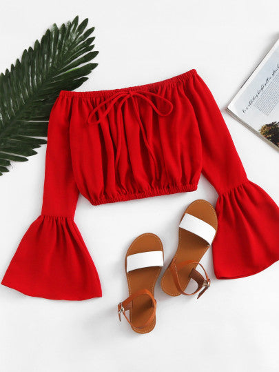 Bethia Off Shoulder Drawstring Crop Top