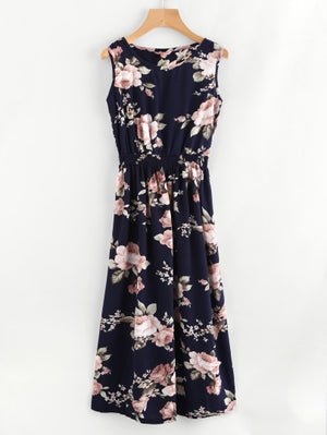 Draw me In Elastic Waist Dress - Floral Dress For Sale | Pixicove