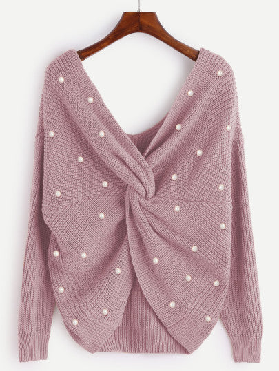 Pearl Beading Twist Infinity Sweater - Jersey For Sale | Pixiecove