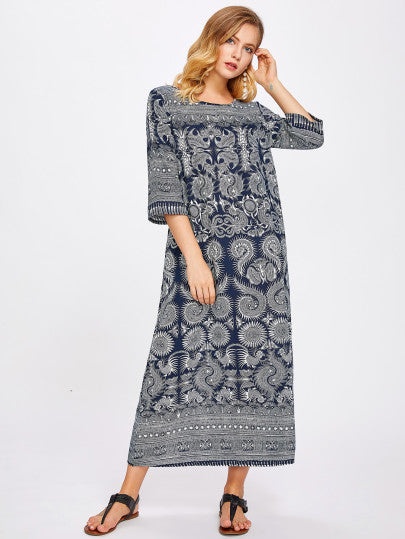 Paisley Print Longline Dress - Boho Dress For Sale | Pixiecove