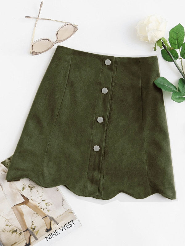 Georgia Scallop Hem Suede Skirt