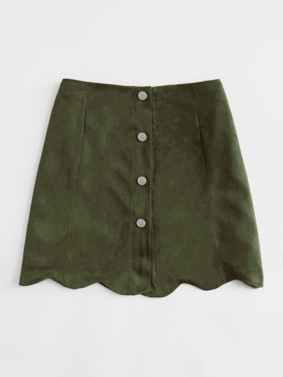 Georgia Scallop Hem Suede Skirt Now On Sale | Pixiecove