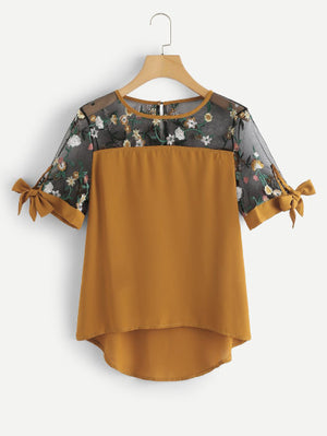 Sheer Mesh Panel Embroidered Blouse