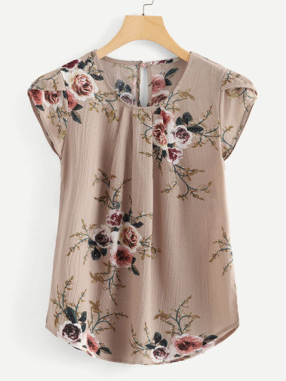 Petal Sleeve Curved Hem Blouse