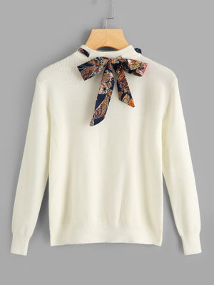 Like A Champ Solid Knotted Sweater - White Sweater For Sale | Pixiecove