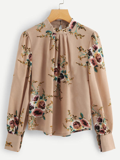 Bishop Sleeve Floral Print Blouse