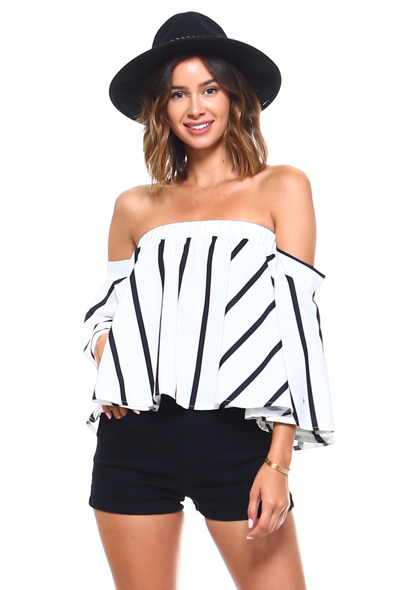 Alexandra Striped Off Shoulder Blouse