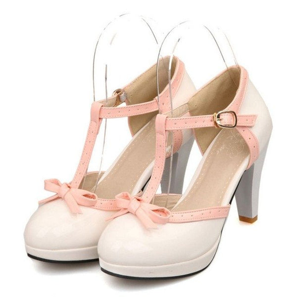 Suzie Shoe - White with Pink Strap - Pixie Cove
