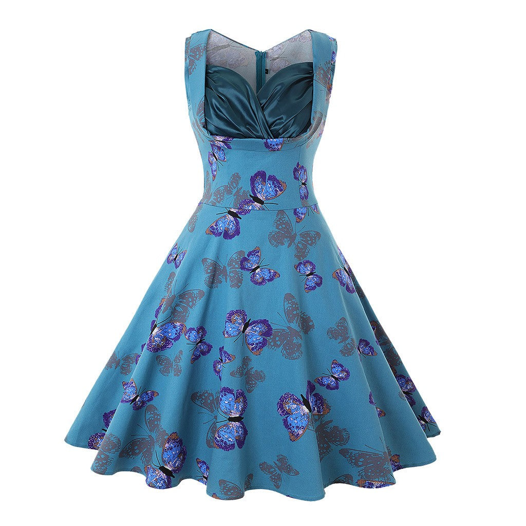 Isabella V-Neck Butterfly Swing Dress