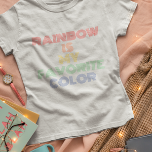 rainbow tee on gray