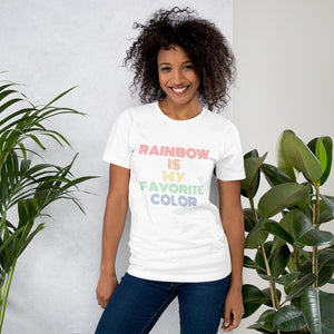 casual rainbow t-shirt outfit