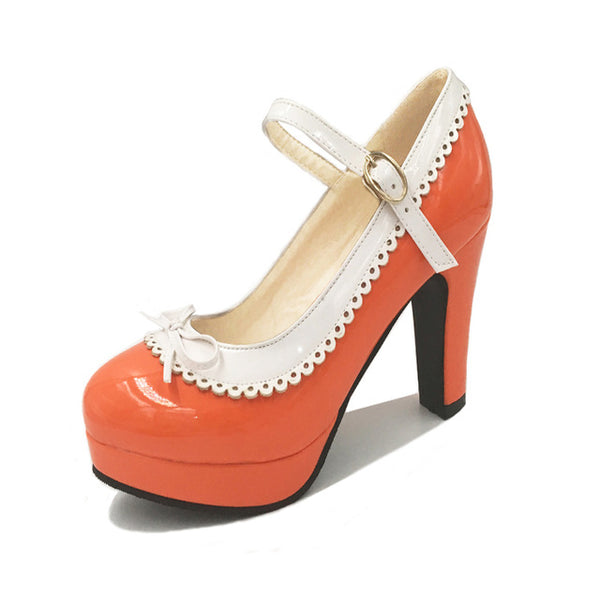 Shona Shoe - Orange with White Detail - Pixie Cove