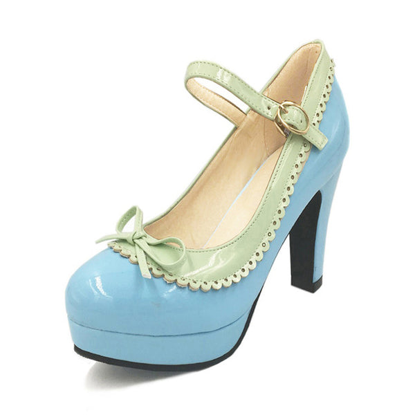 Shona Shoe - Blue with Green Detail - Pixie Cove