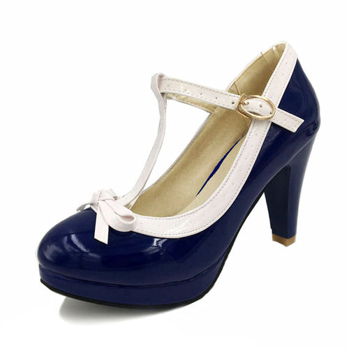 Ashley Shoe - Navy with White Strap - Pixie Cove