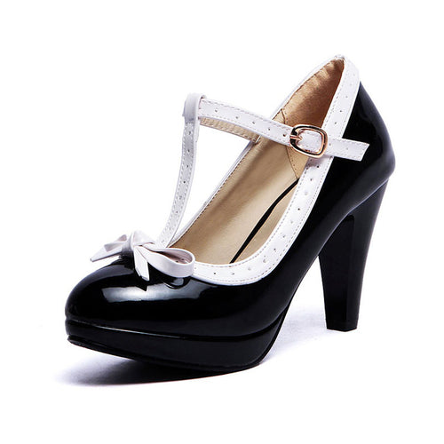Ashley Shoe - Black with White Strap - Pixie Cove