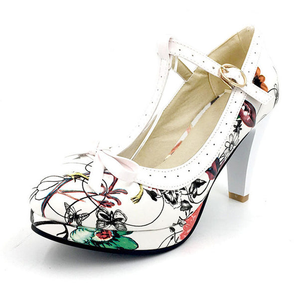 Ashley Shoe - Multi Floral with White Strap - Pixie Cove