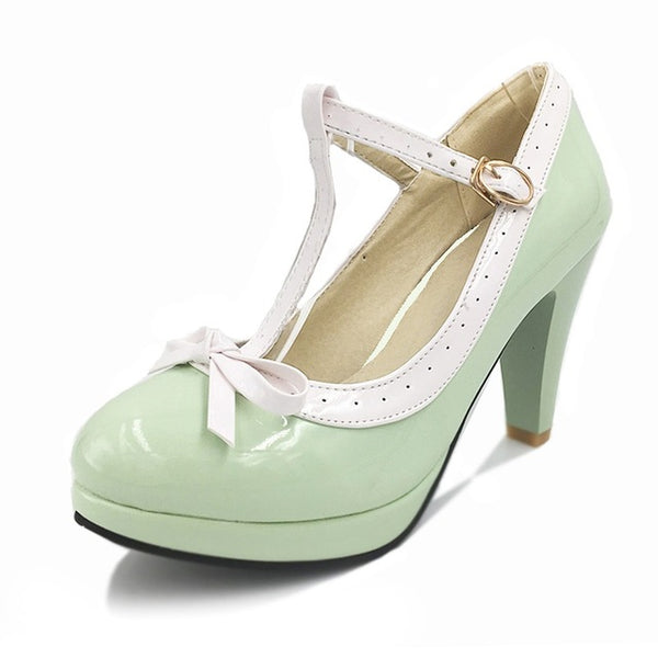 Ashley Shoe - Green with White Strap - Pixie Cove