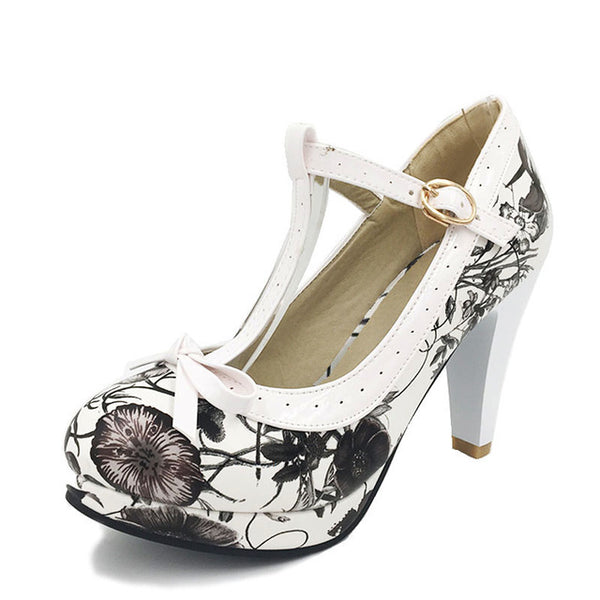 Ashley Shoe - Floral Black with White Strap - Pixie Cove