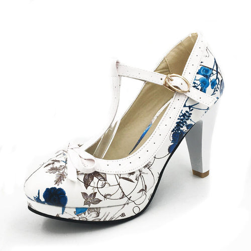 Ashley Shoe - Floral Blue with White Strap - Pixie Cove