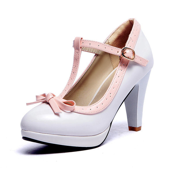 Ashley Shoe - White with Pink Strap - Pixie Cove