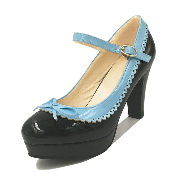 Shona Shoe - Black with Blue Detail - Pixie Cove