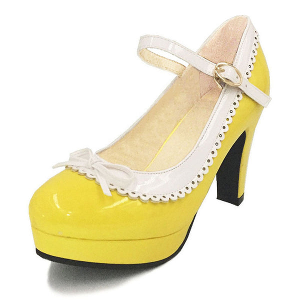 Shona Shoe - Yellow with White Detail - Pixie Cove