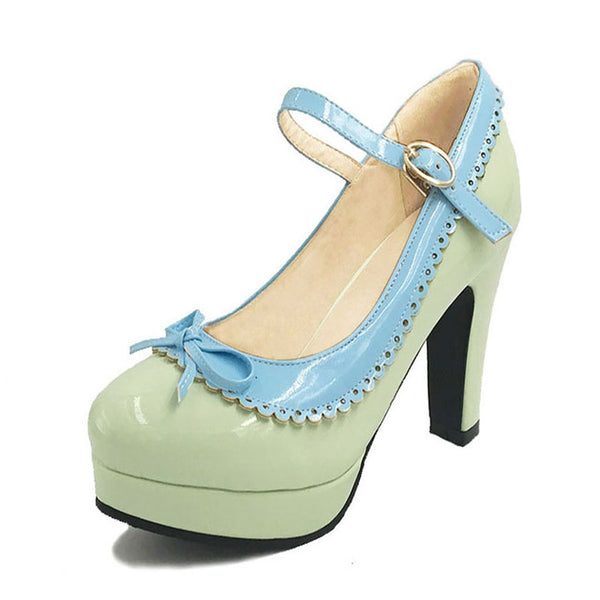 Shona Shoe - Green with Blue Detail - Pixie Cove