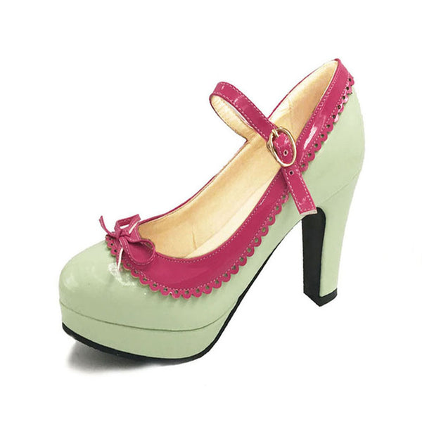Shona Shoe - Green with Pink Detail - Pixie Cove
