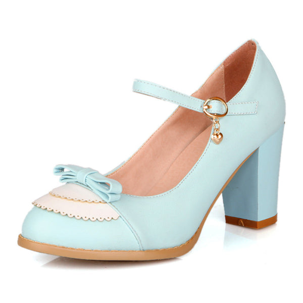 Clara Shoe - Blue with Bow - Pixie Cove