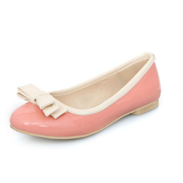 Brittany Flat Shoe - Pink with Bow - Pixie Cove