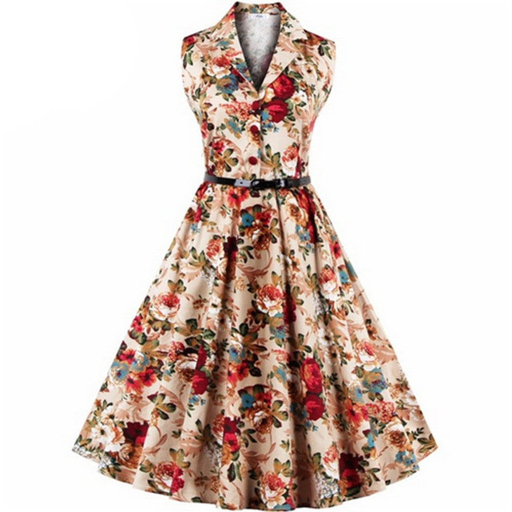 Beatrice Vintage Sleeveless Floral V-Neck Dress