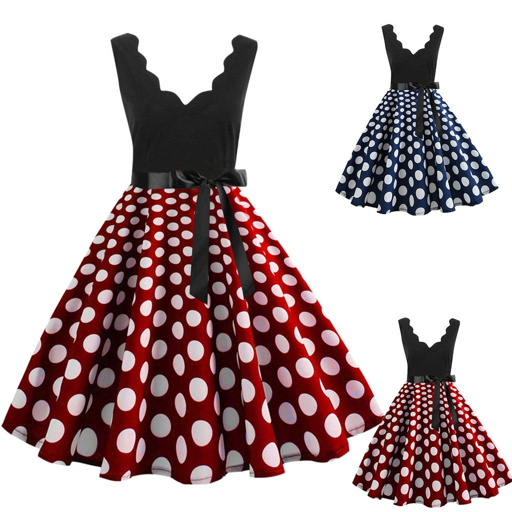Corinne Sleeveless Polka Dot Flare Dress