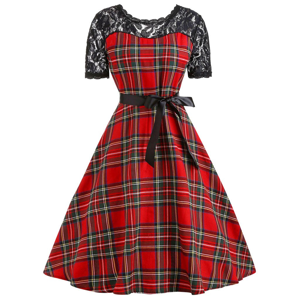 Elspeth Plaid Lace Swing Dress