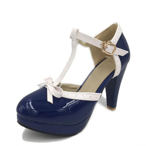 Suzie Shoe - Navy with White Strap - Pixie Cove