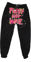 Pussy Not War painted sweatpants (Black)