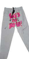 She's The Boss painted sweatpants