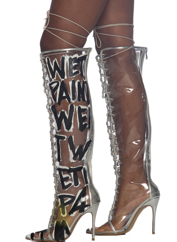 Wet Paint Knee Boots