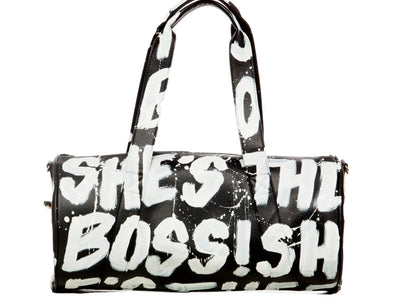 She's The Boss leather duffle bag