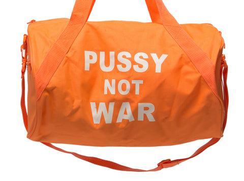 Neon orange Pussy Not War Duffle bag