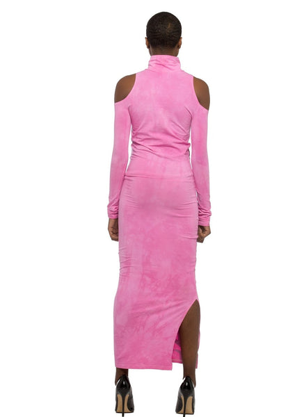 Pink Look Don't Touch long bodycon dress