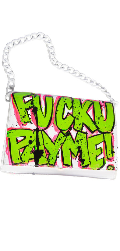 White Fuck You Pay Me retro bag
