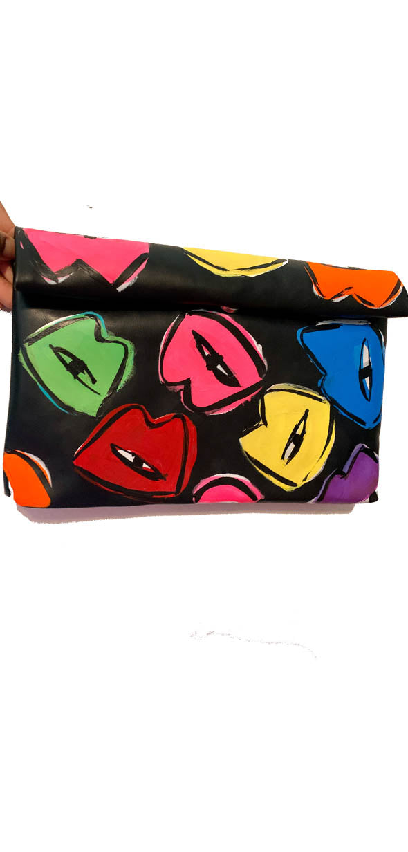 Rainbow Kisses faux leather roll down purse