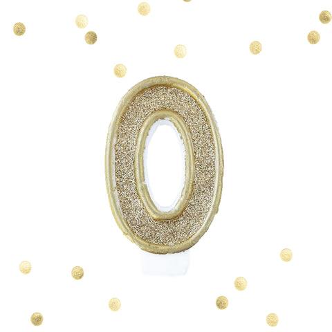 Light Gold Glitter Birthday Candle Number 0 Gold & White Anniversary Cake Topper Zero