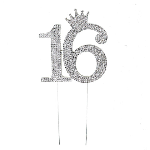 Sweet 16 Silver Crystal Rhinestone Birthday Crown Cake Topper