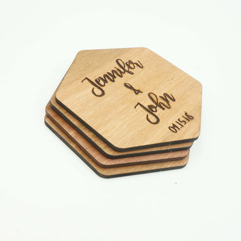 Custom Modern Hexagon Wooden Drink Coasters Couples Name Wedding Date Gift-Set of 6
